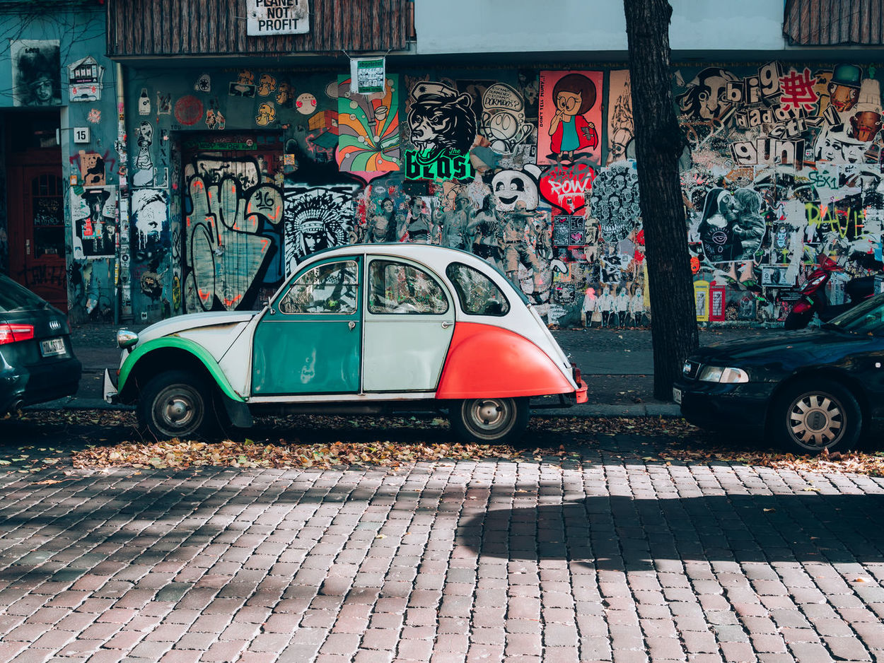 Berlinstagram City Day Ditisberlin Ente Funny Car Graffiti Graffiti Grafiti Wall Land Vehicle Mode Of Transport No People Oikos Old Vintage Bicycle Outdoors Transportation Typical Berlin Vintage Car