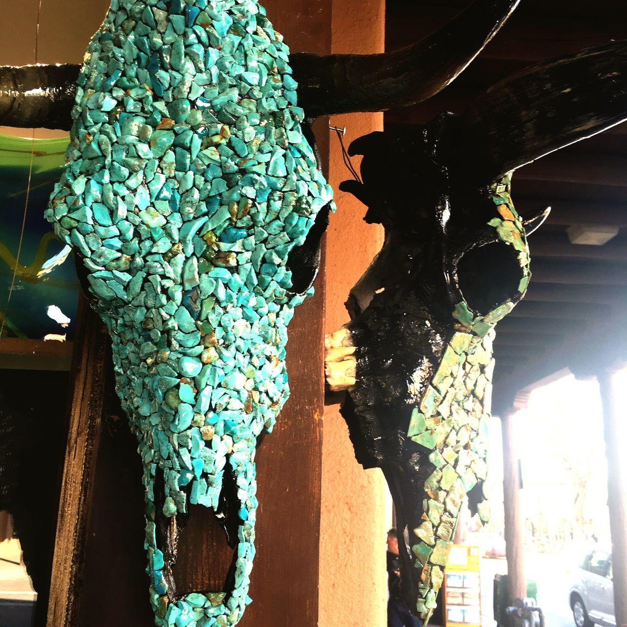 Cow Skull Southwestern Southwest  Santa Fe Santa Fe New Mexico Turquoise Skull Art Western Embellishments
