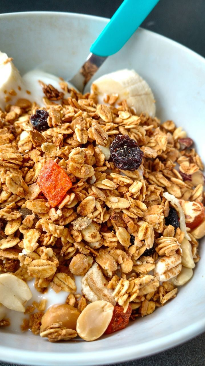 food and drink, food, freshness, healthy eating, breakfast, granola, breakfast cereal, close-up, bowl, indoors, serving size, ready-to-eat, no people, oats - food, nut - food, fruit, corn flakes, oat flake, day