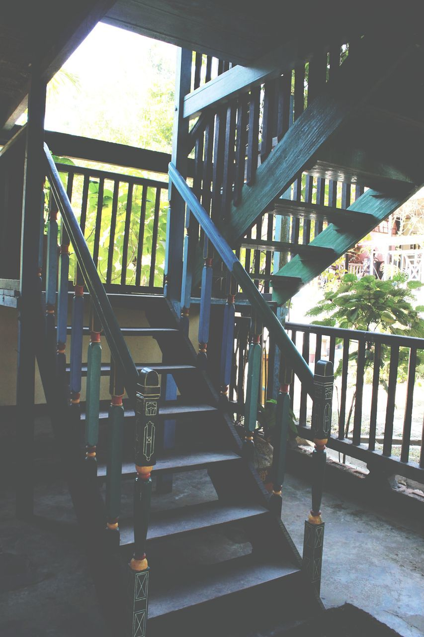 staircase, steps, steps and staircases, railing, architecture, built structure, stairs, no people, hand rail, day, tree, indoors
