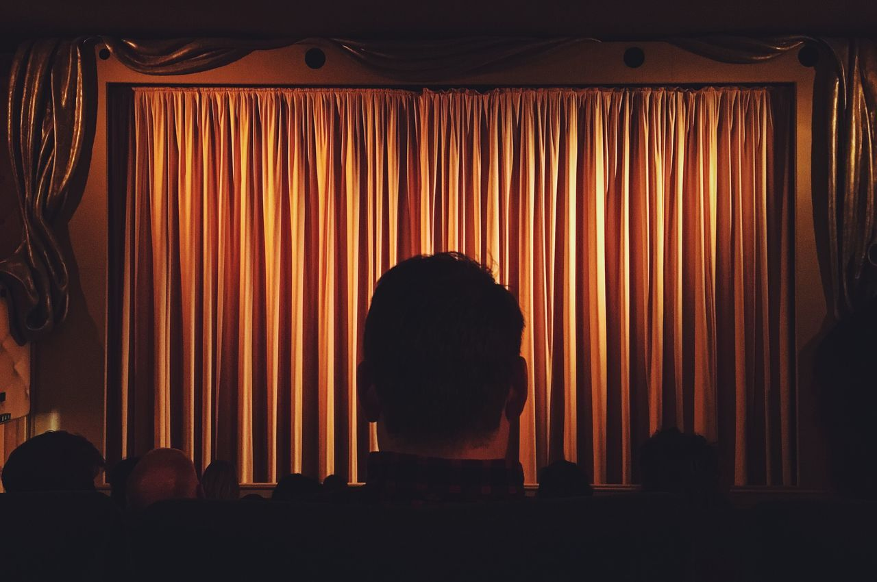 Curtain Silhouette Rear View Indoors  Stage - Performance Space Real People Arts Culture And Entertainment One Person Performance Men Adult People Cinema In Your Life Cinema Cinematography IPhoneography Real Photography Indoor Yellow