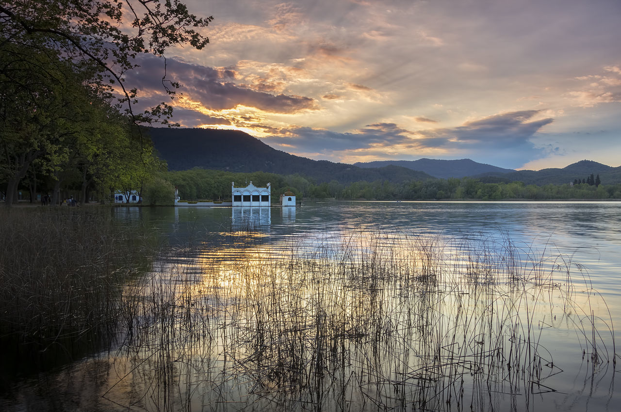 Sunset at Banyoles Lake, Catalonia, Spain Beauty In Nature Cloud - Sky Lake Nature No People Outdoors Reflection Scenics Sky Sunset Tranquil Scene Tranquility Travel Destinations Tree Vacations Water Waterfront