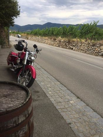 Baggerstyle Cloud - Sky Day Harleydavidson Land Vehicle Landscape Mode Of Transport Motorcycle No People Outdoors Pink Color Road Sky The Way Forward Transportation