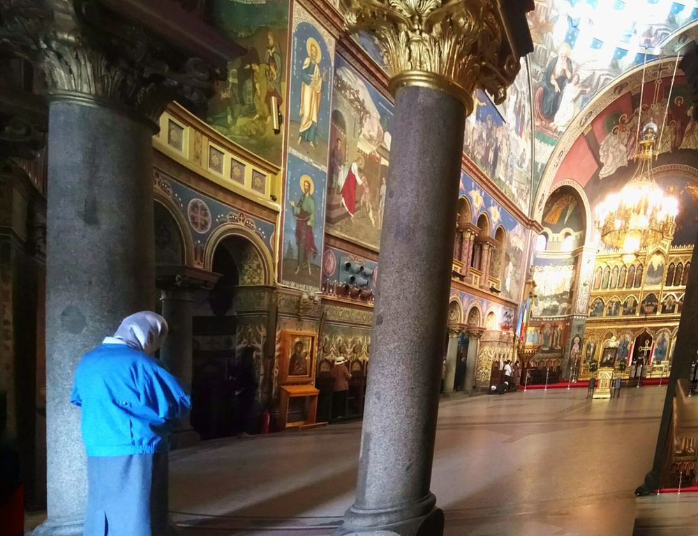 Old woman Architecture Church Ortodox Religion Ortodoxmonastery Orthodox Church Ortodox Woman, People One Person woman pray Adults Only Adult Indoors  Men Full Length Night Only Women City Sibiu Romania