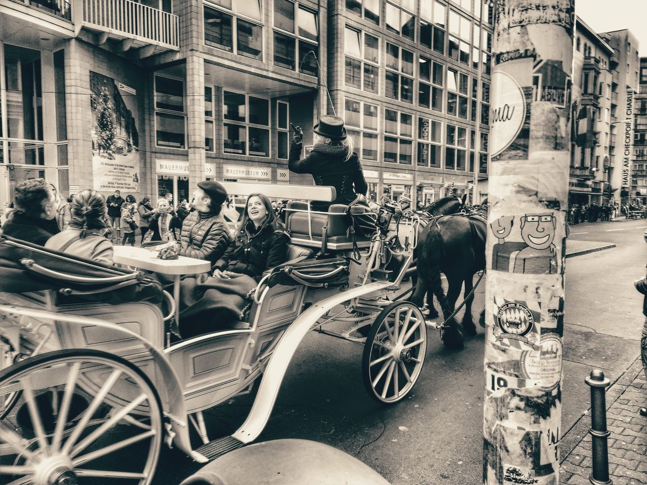Checkpointcharlie Berlin Blackandwhite Horse-drawn Carriage Germany Street History Look At This Look Up Sightseeing