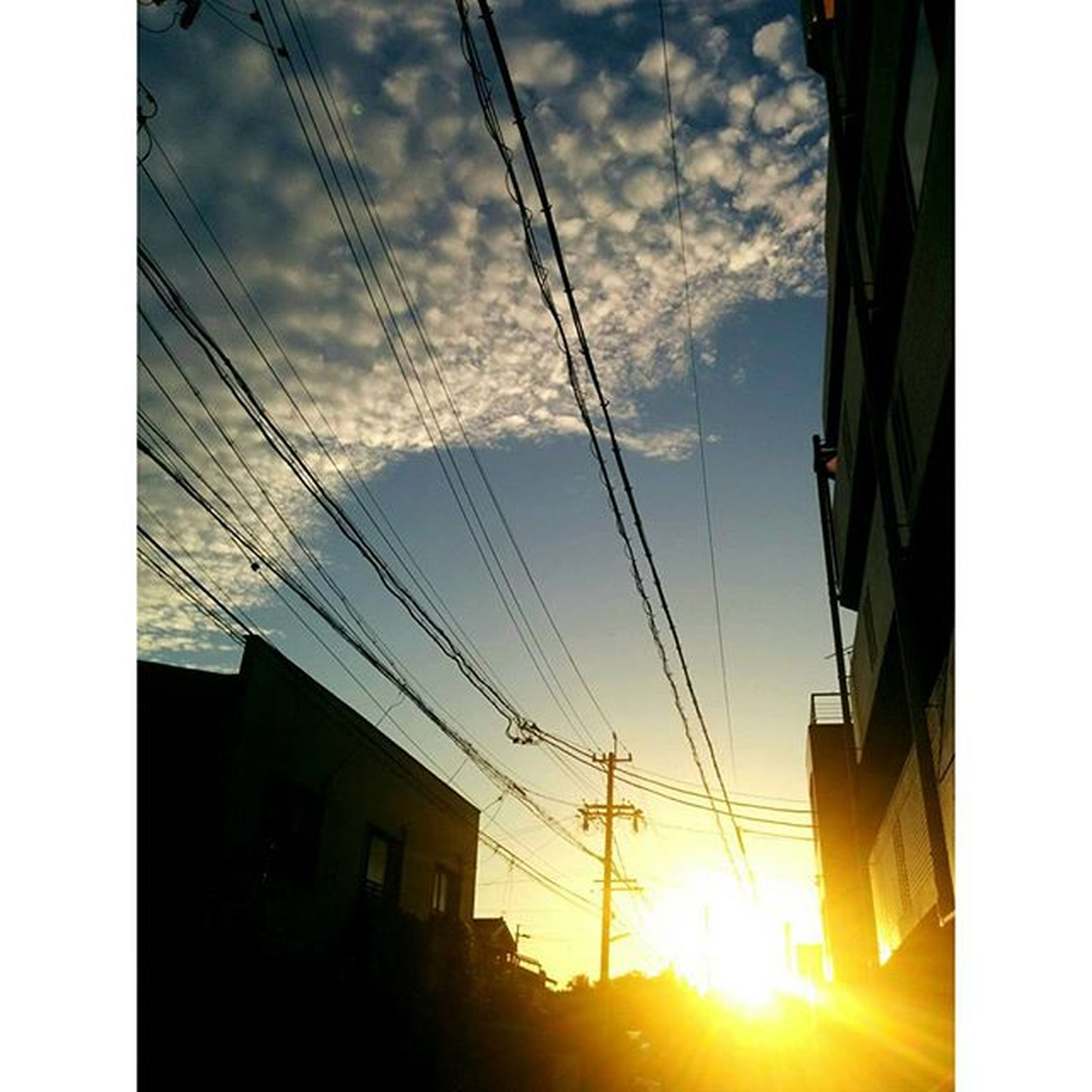 power line, building exterior, low angle view, built structure, sunset, architecture, sky, electricity pylon, silhouette, cable, sun, power supply, transfer print, electricity, sunlight, house, power cable, connection, auto post production filter, cloud