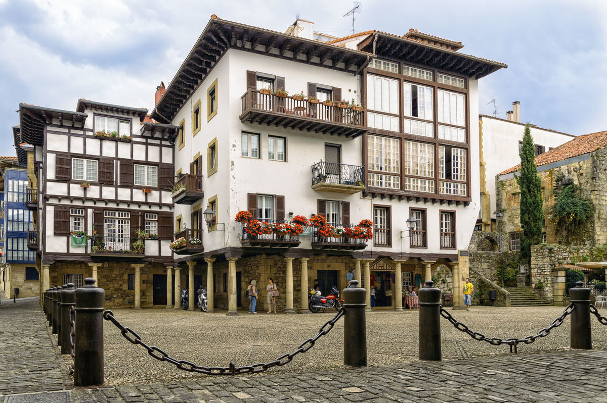 Square in medieval city Architecture Building Exterior Built Structure City City Life Cloud - Sky Day Façade Footpath Hondarribia Land Vehicle Medieval Mode Of Transport Outdoors Residential Building Residential District Residential Structure Sky Street Transportation Travel Travel Destinations Window