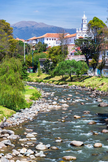 View of a church in Cuenca, Ecuador with the Tomebamba River in the foreground Architecture Blue Bridge Building Cathedral Catholic Center Church City Cuenca Cuenca, Ecuador Downtown Ecuador Landmark Latin Modern New Outdoors ParqueCalderon Religion River South America Travel Tree Water