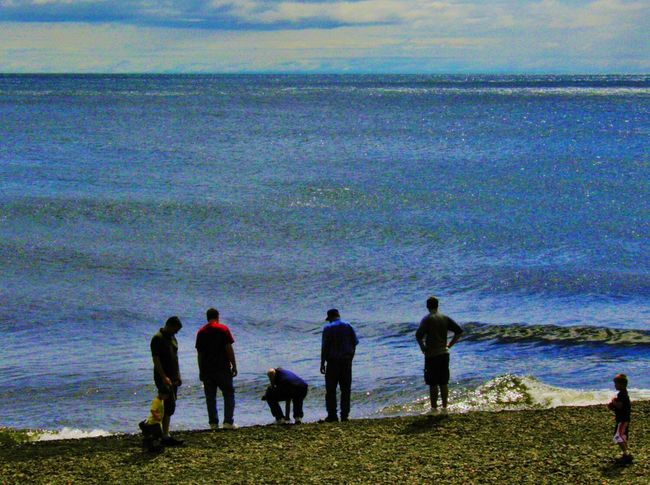 Summer Views Minnesota Nature Beautiful Day Shoreline Lake Superior Clouds And Sky Endless Blue Agate Beach  Tourists Rocks And Water