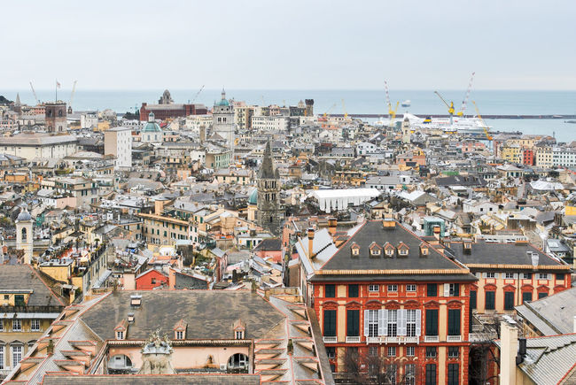 Panoramic view of the city center of Genoa Aerial Aerial View Architecture Buildings Centro Storico City City Center Cityscape Cloudy Downtown Genoa Genova Houses Italy Liguria Outdoors Overcast Panoramic Roofs Skyline Town Urban