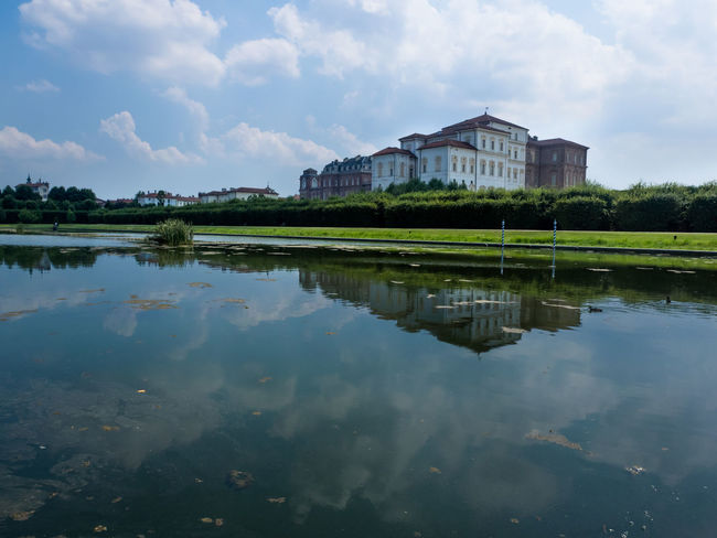 Reggia di Venaria Reale, Turin, Italy. Architecture Blue Building Exterior Built Structure Calm Cloud Cloud - Sky Cloudy Day Green Color Growth Idyllic Lake No People Outdoors Reflection Scenics Sky Standing Water Torino Tranquil Scene Tranquility Mirkomacaritorino Venaria Water