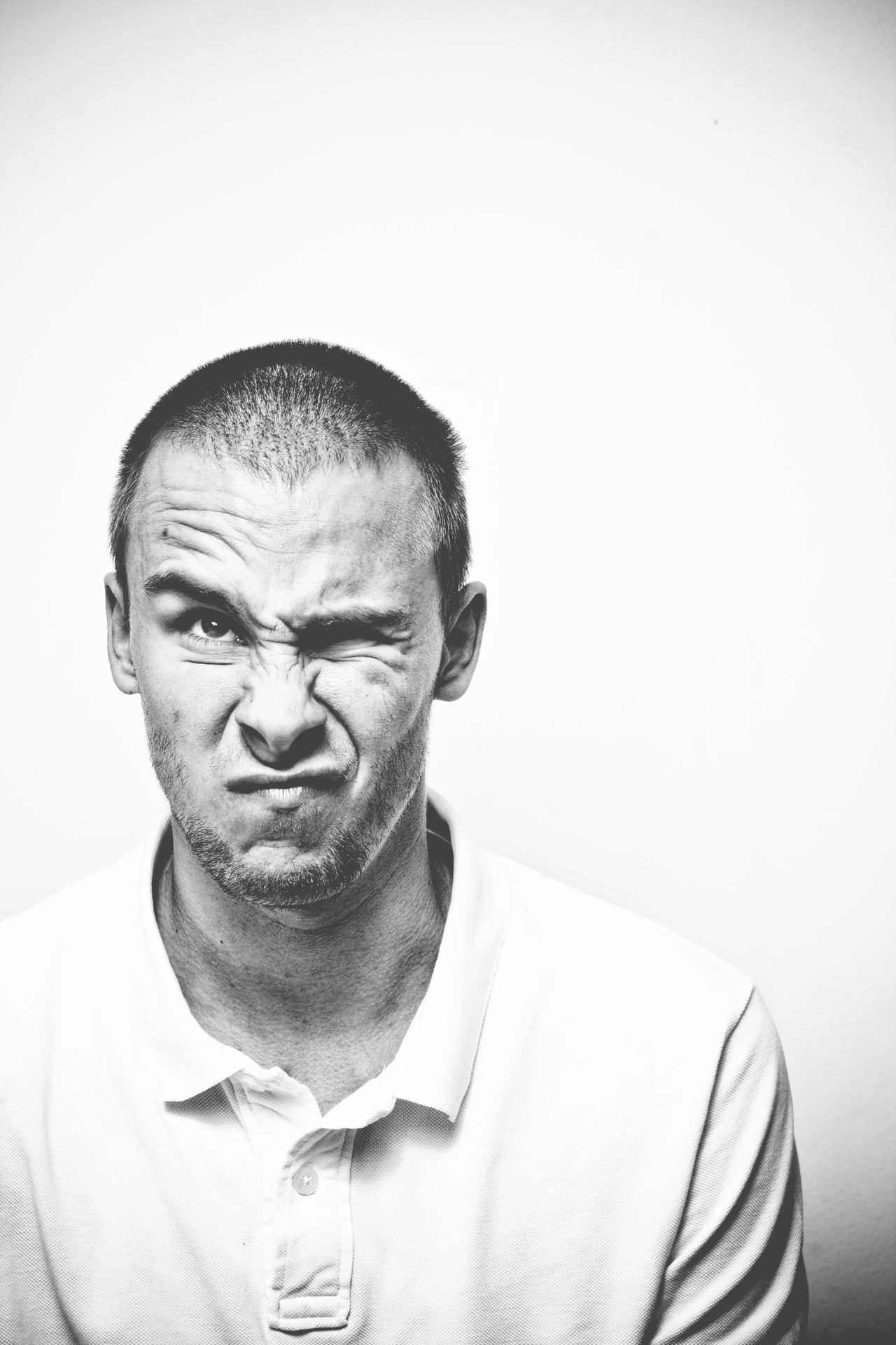 Adult Close-up Day Front View Funny Faces Indoors  Looking At Camera Mature Adult Monochrome One Person People Portrait Real People Self Portrait Selfie Senior Adult Studio Shot White Background