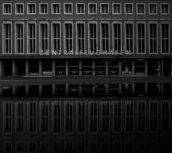 Architectue Architecture Architecture_bw Black & White Blackandwhite Building Exterior Built Structure City Day Full Frame No People Reflection Reflection_collection Tempelhof Airport Water Reflections
