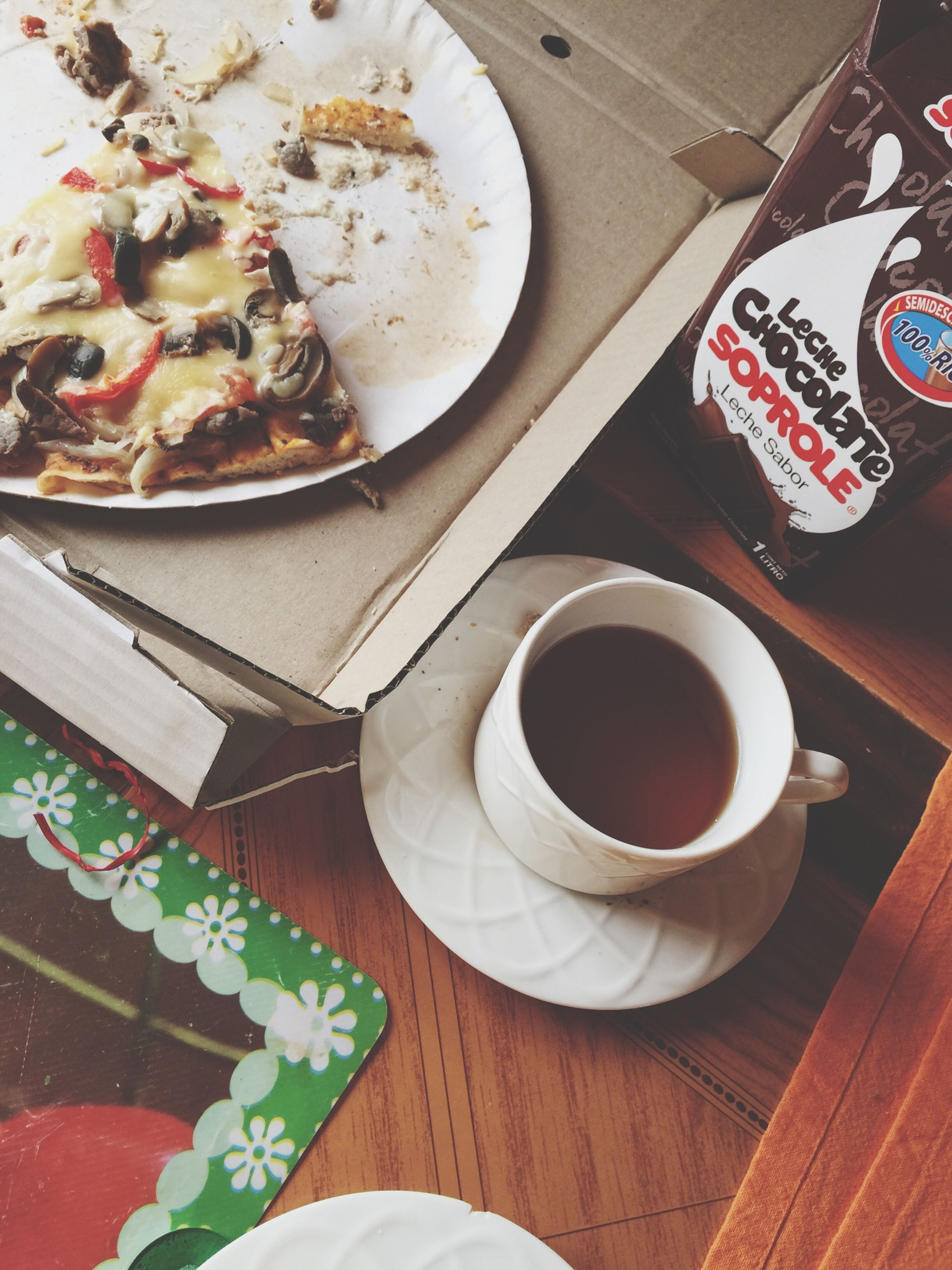 indoors, food and drink, table, coffee cup, drink, refreshment, coffee - drink, freshness, high angle view, saucer, still life, cup, plate, coffee, directly above, food, spoon, sweet food, ready-to-eat, breakfast