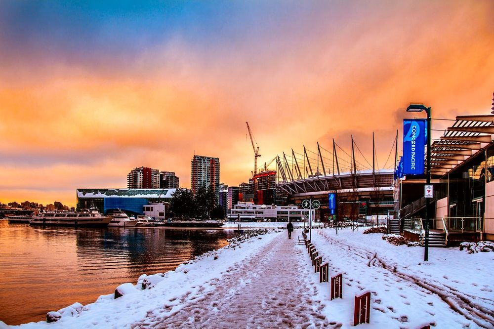 False Creek in thr snow Sunset Sky Winter Cold Temperature Snow Outdoors Bridge - Man Made Structure Nature Day Bcplace City Red Cloud - Sky Moody Sky Dramatic Sky Frozen Landscape Building Exterior Vancouverofficial Vancityhype