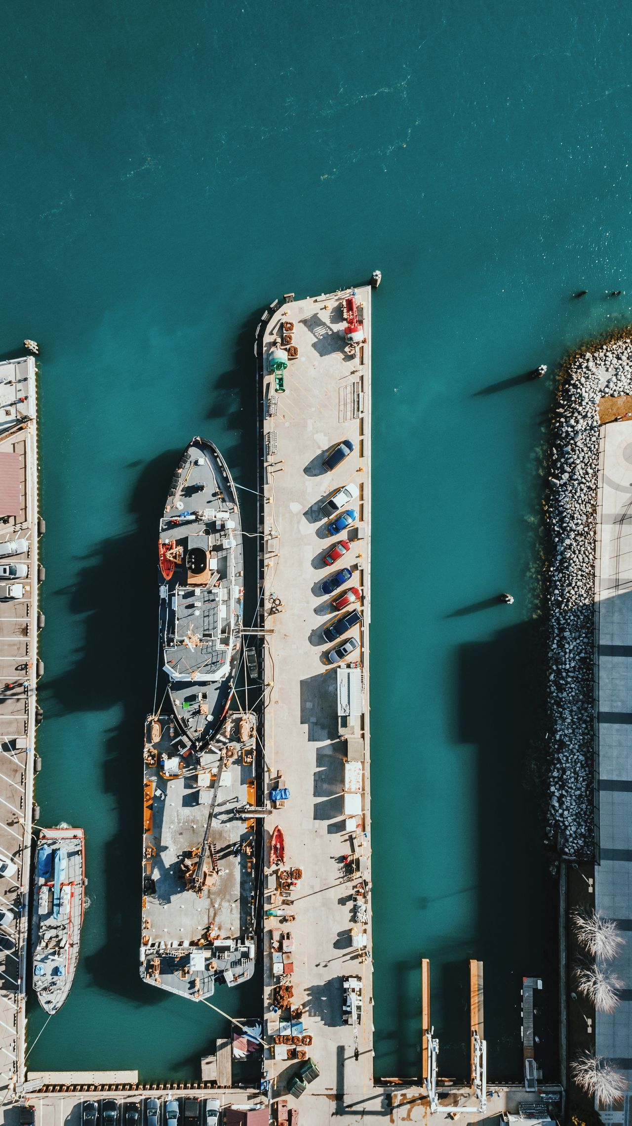 Ship Boat Industrial Dock Shipping  Water Aerial Drone  Blue Work