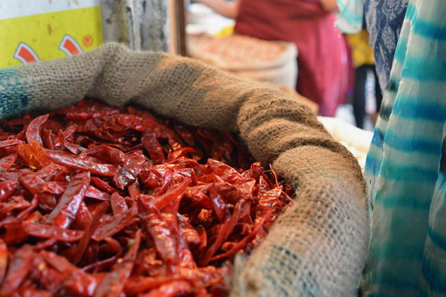 Chillies Dried Market Market Stall Market Vendor Red Sack Selective Focus Wrinkled
