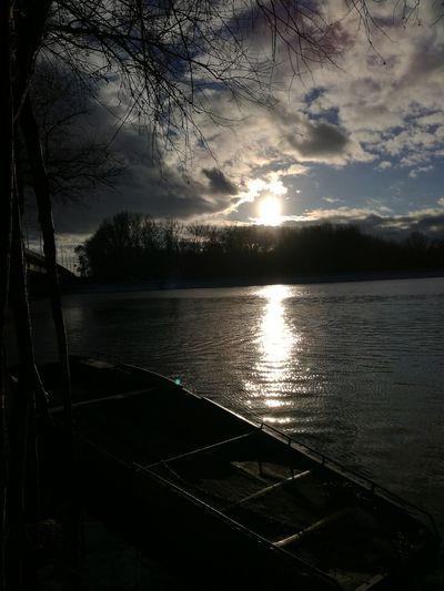 Drava Boat Nature Sunset