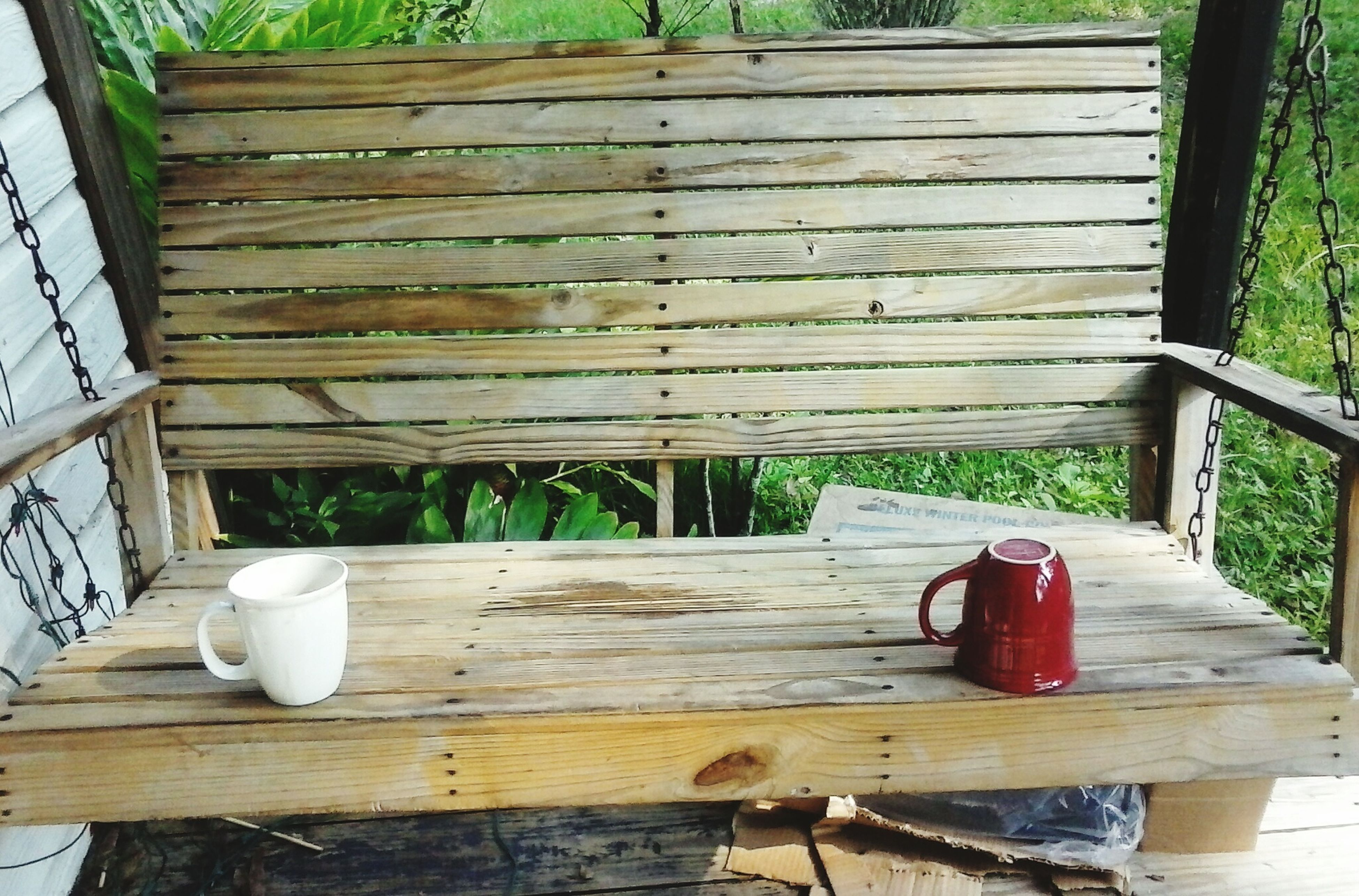 wood - material, wooden, wood, table, plank, bench, empty, chair, high angle view, absence, day, boardwalk, abandoned, no people, outdoors, grass, red, wood paneling, seat, old