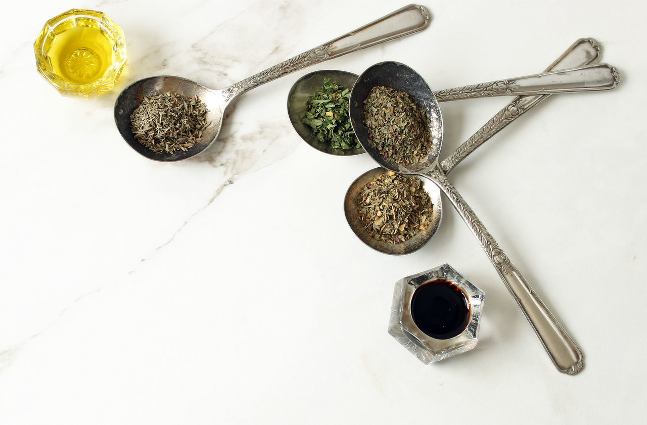 Italian ingredients Background Balsamic Vinegar Cooking Flat Lay Food Food And Drink Food Preparation Freshness Healthy Eating Herbs High Angle View Ingredient Italian Marble Meal Prep No People Olive Oil Open Space Recipes Rustic Spoon Studio Shot Topview Vintage White Background