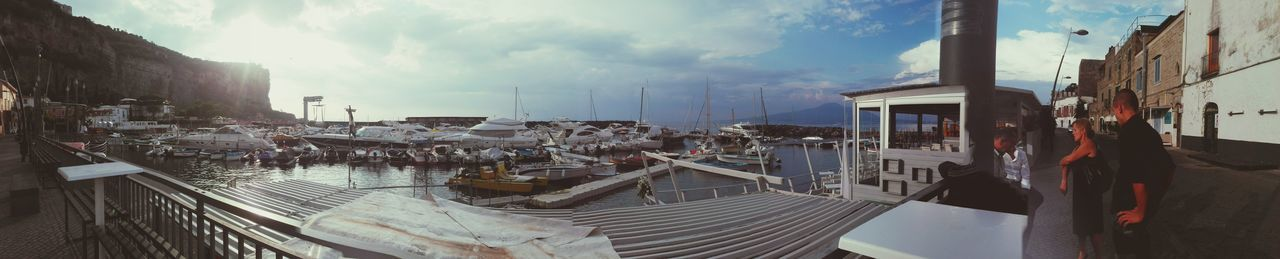 architecture, building exterior, built structure, sky, day, outdoors, cloud - sky, transportation, panoramic, nautical vessel, real people, water, nature