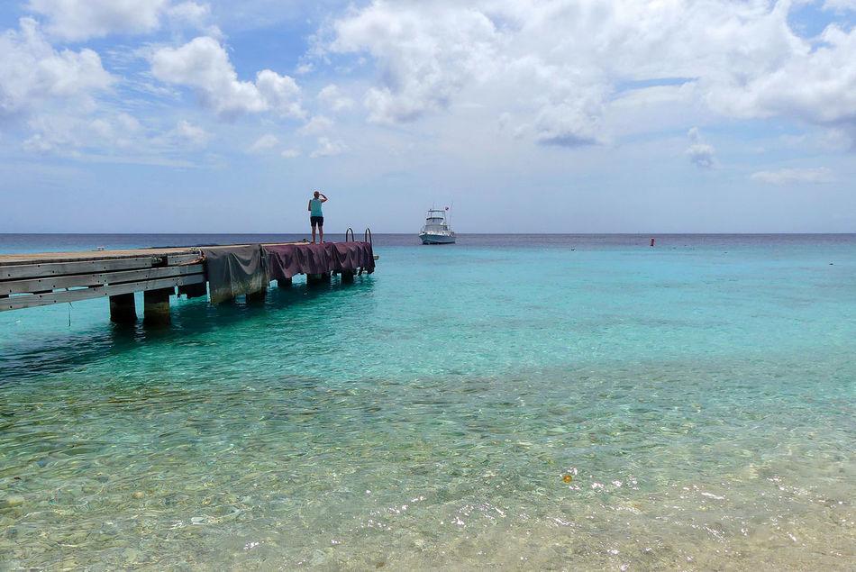 Beauty In Nature Bootssteg Cloud - Sky Curacao Horizon Over Water Playa Kalki Scenics Sea Steg Tranquil Scene Travel Destinations Vacation Destination Vacations