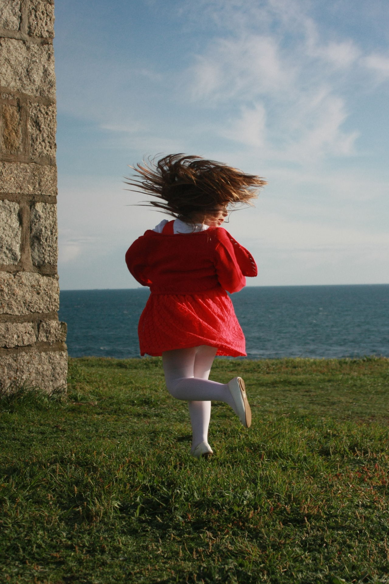 Adult Beauty In Nature Children Children Photography Cloud - Sky Day Full Length Grass Nature One Person Outdoors People Rear View Red Dress Sea Sky Water Women Dramatic Angles