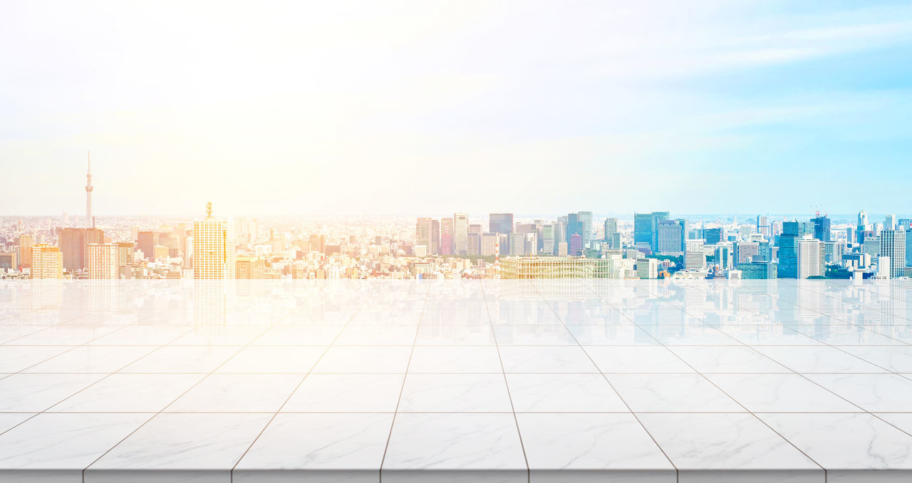 Business concept - Empty marble floor top with panoramic modern cityscape building bird eye aerial view under sunrise and morning blue bright sky of Tokyo skytree, Japan for display or montage product Architecture Building Exterior Built Structure Business Business Finance And Industry City Cityscape Day Downtown District Modern No People Outdoors Sky Skyscraper Skytree, Sky Tree, Stone, Tile, Empty, Marble, Rock, Floor, Ground, Nobody, Background, Mockup, Mock Up, Template, Display, Montage, Layout, Design, Texture, Blank, Japan, Tokyo, Cityscape, Landmark, Real Estate, Morning, Building, Skyline, Skyscraper, Bu Travel Destinations Urban Skyline