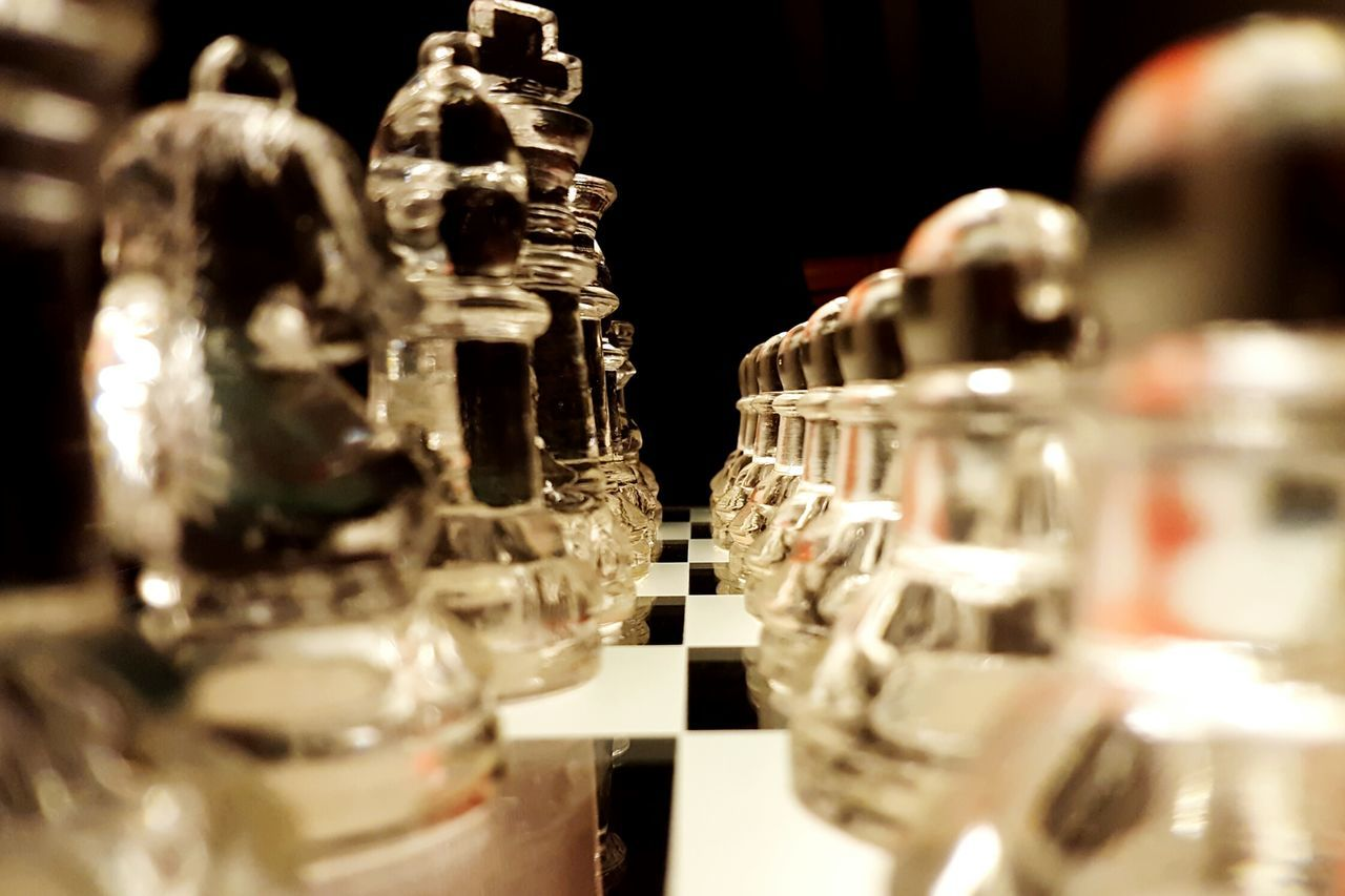 Dramatic Angles In A Row Close-up Arrangement Chessboard Chess Set