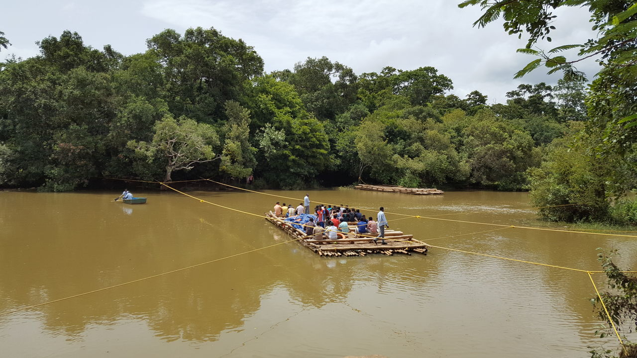 tree, real people, large group of people, water, nature, men, river, leisure activity, outdoors, day, lifestyles, beauty in nature, women, waterfront, sky, vacations, nautical vessel, scenics, rafting, people