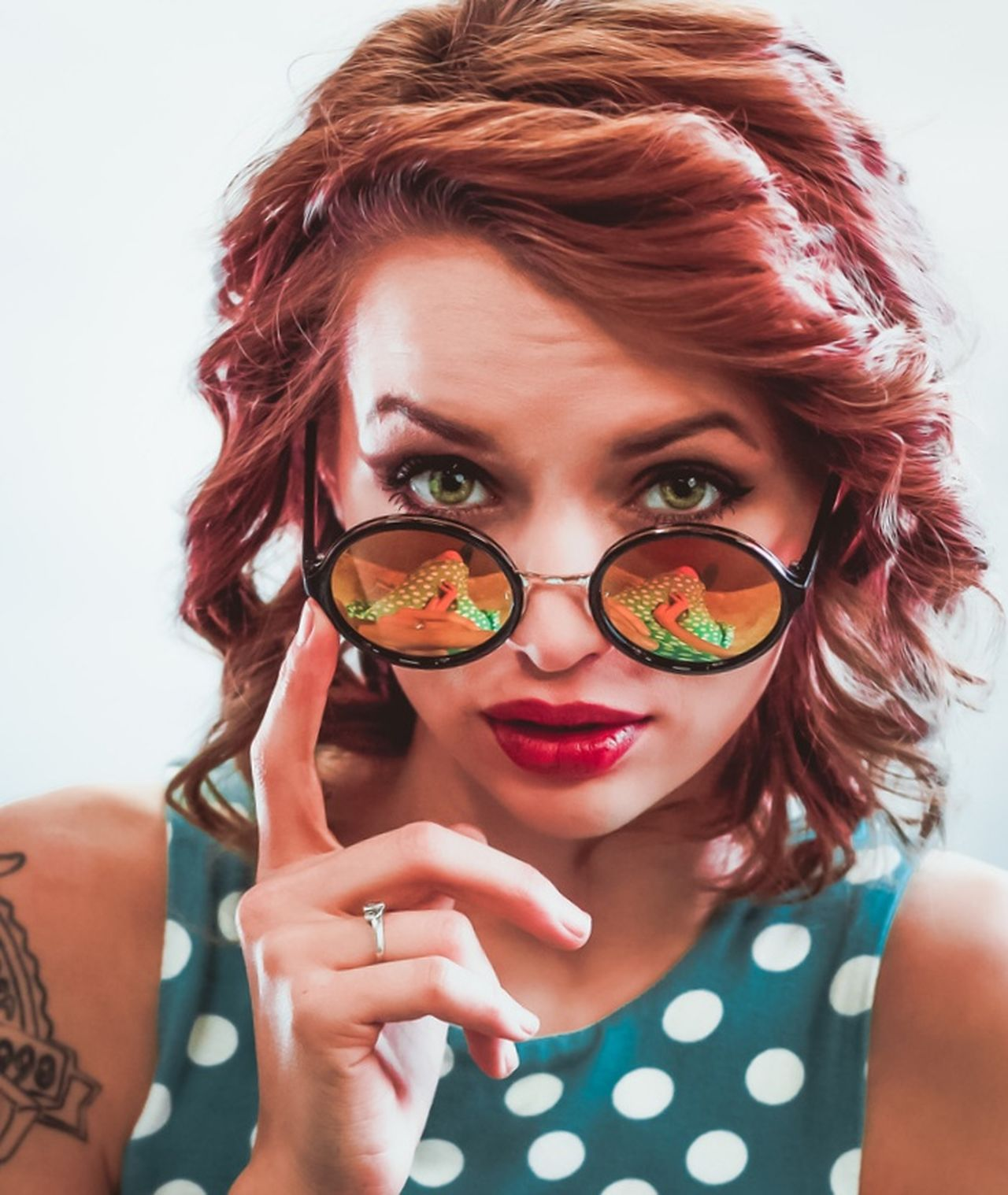 Reflections. Redhead Portrait Eyeglasses  Polka Dot Headshot Beauty Hipster - Person Beautiful Woman Women Young Women One Woman Only Reflection_collection Reflection Vintage Portrait Of A Woman Seductive Lipstick Colorful Color Palette Color Portrait Colour Of Life Colorsplash Sunglasses One Young Woman Only The Portraitist - 2017 EyeEm Awards