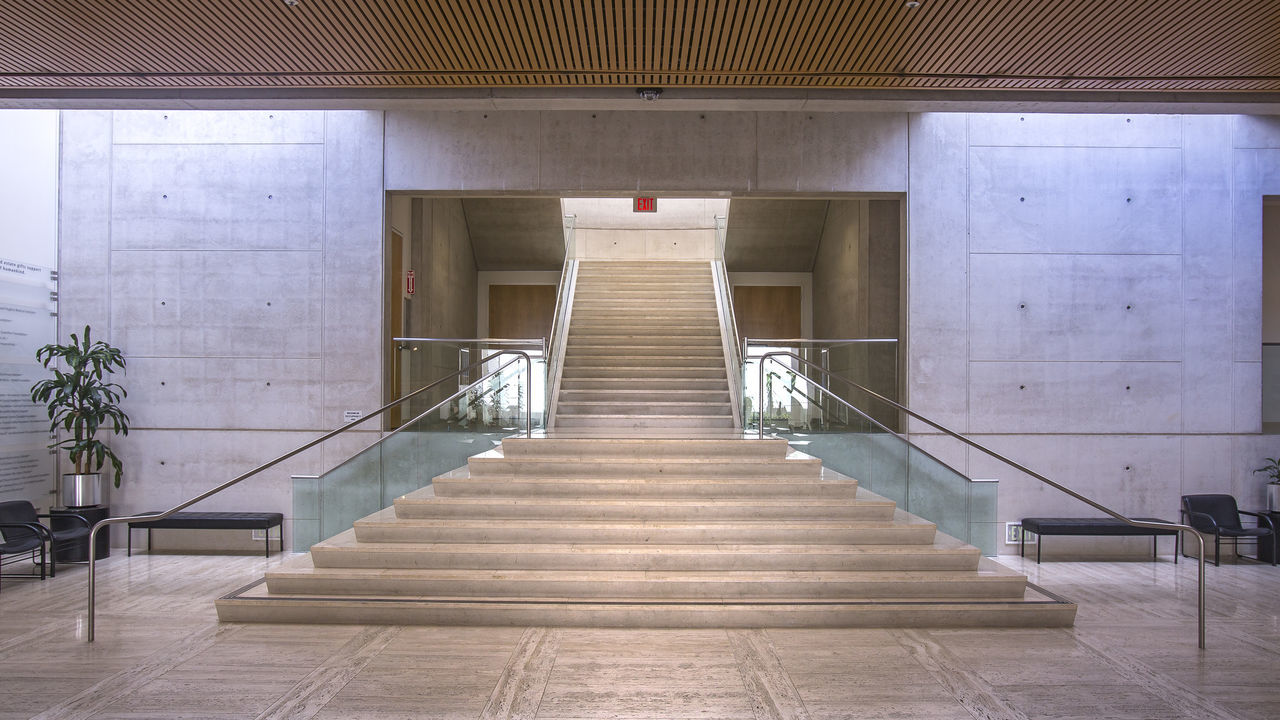 Architecture Built Structure Cali California Day Education Hand Rail Indoors  No People Railing Salk Institute  Southern California Staircase Steps Steps And Staircases The Way Forward