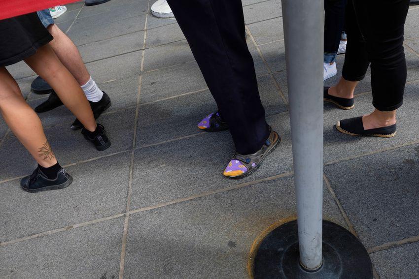 Centre Georges Pompidou...queuing Foot Wear  Pink The Week On EyeEm Footwear Human Body Part Human Leg Low Section Shoozing Socks