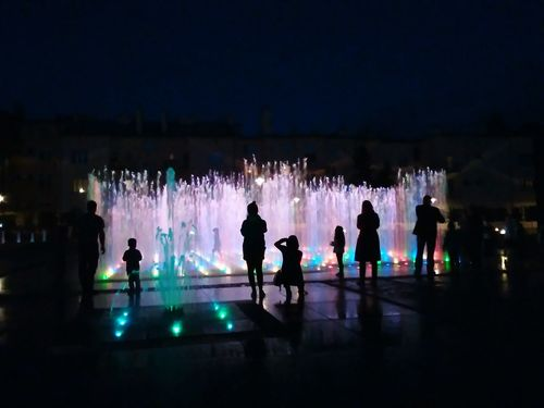Fountain Water Illuminated Leisure Activity Childhood Night Dark Outdoors City Life Vacations Rzeszowzaprasza Rzeszów Poland Rzeszów Arturhippe Polishpriest Pokojartura