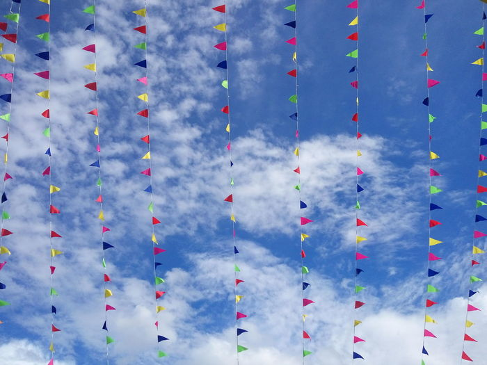 Colourful flag celebration for the new opening Shop. Celebration Blue Sky White Clouds Kolombong KKCity Ninso Clear Day Hot