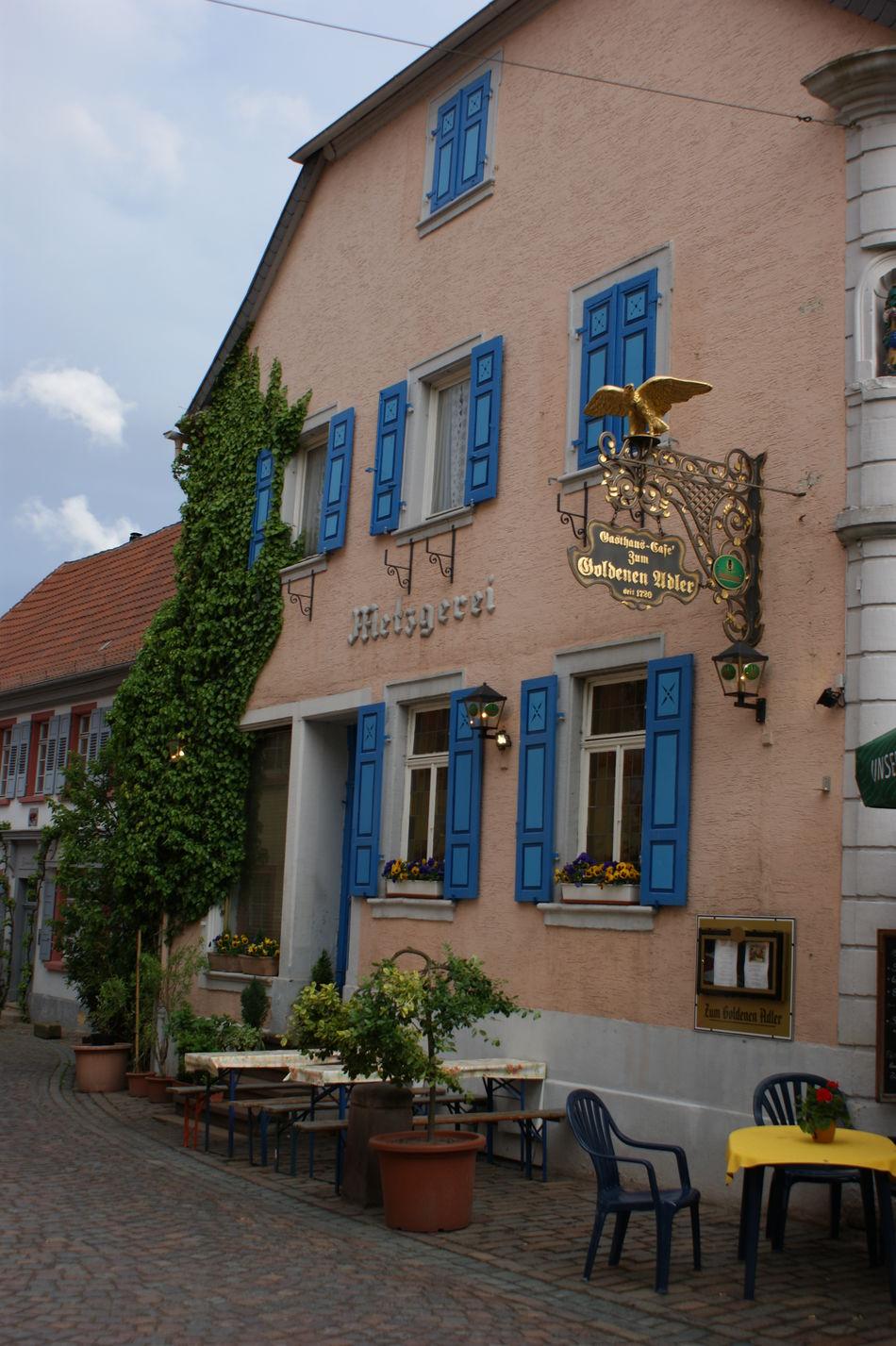 Architecture Blue Shutters Cobblestone Streets German Guest House German Restaurant German Village Guest House Restaurant