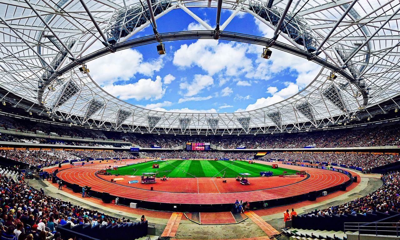 Olympic Stadium in the sun Stadium Sport Blue Soccer Sports Venue Fan - Enthusiast Sports Track Sports Activity Sky Sports Event  People Outdoors Motorsport London LONDON❤ Olympic Athletics