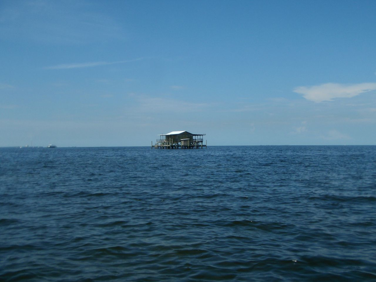 Stilt house on the Gulf of Mexico Sea Blue Water Horizon Over Water Outdoors Tranquility No People Day Stilt House Stilt Houses Gulf Of Mexico Tampa Bay Solitude Away From It All