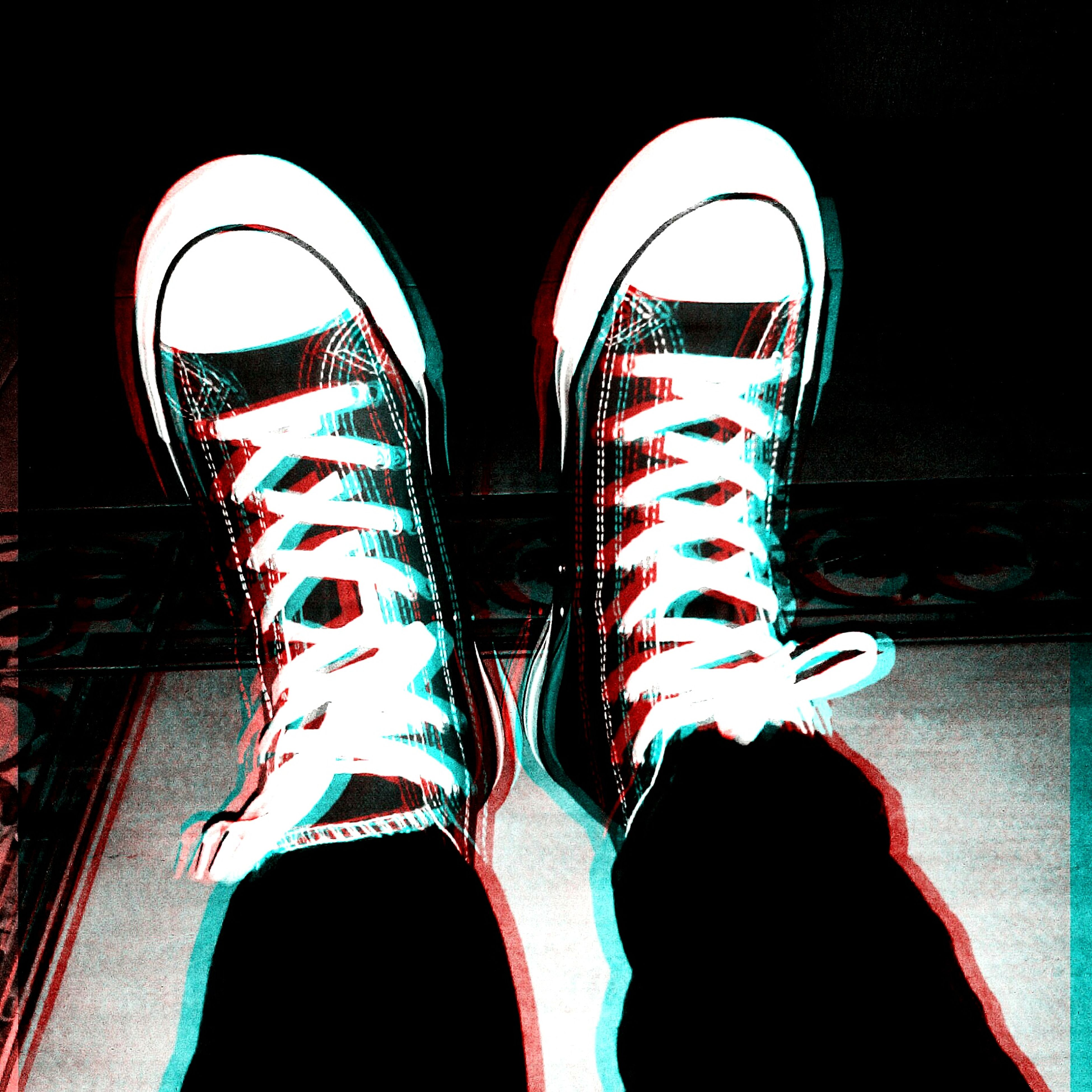 shoe, indoors, standing, low section, footwear, person, arch, close-up, canvas shoe, multi colored, pair, clothing, red, pattern, striped, fashion, personal perspective, day