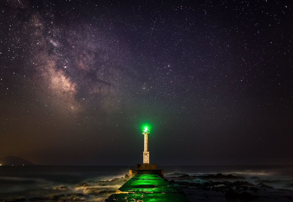 Beautiful stock photos of stars, Beach, Beauty In Nature, Built Structure, Green Light