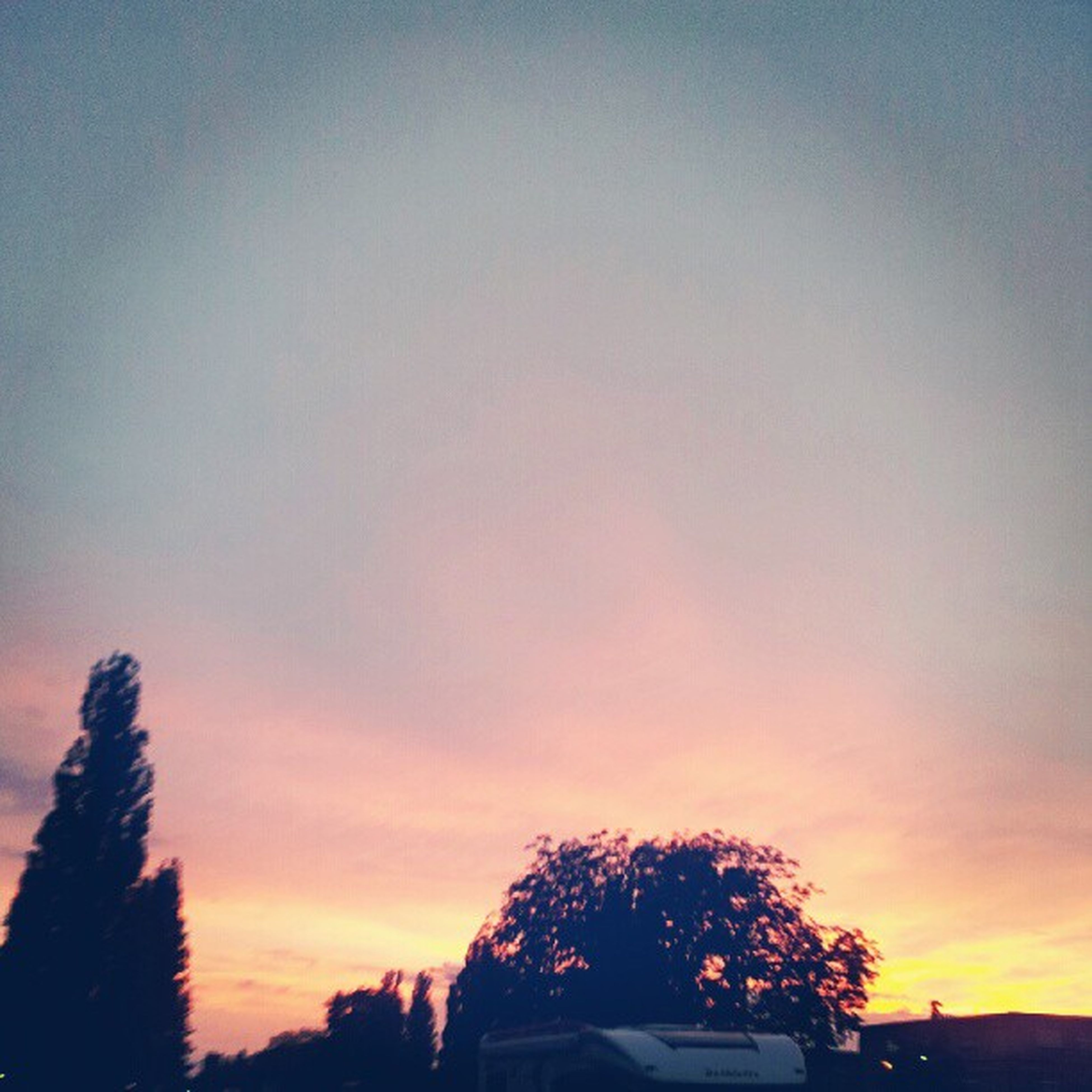 sunset, silhouette, tree, sky, orange color, low angle view, beauty in nature, scenics, tranquility, nature, tranquil scene, built structure, building exterior, cloud - sky, idyllic, dusk, architecture, growth, outdoors, high section