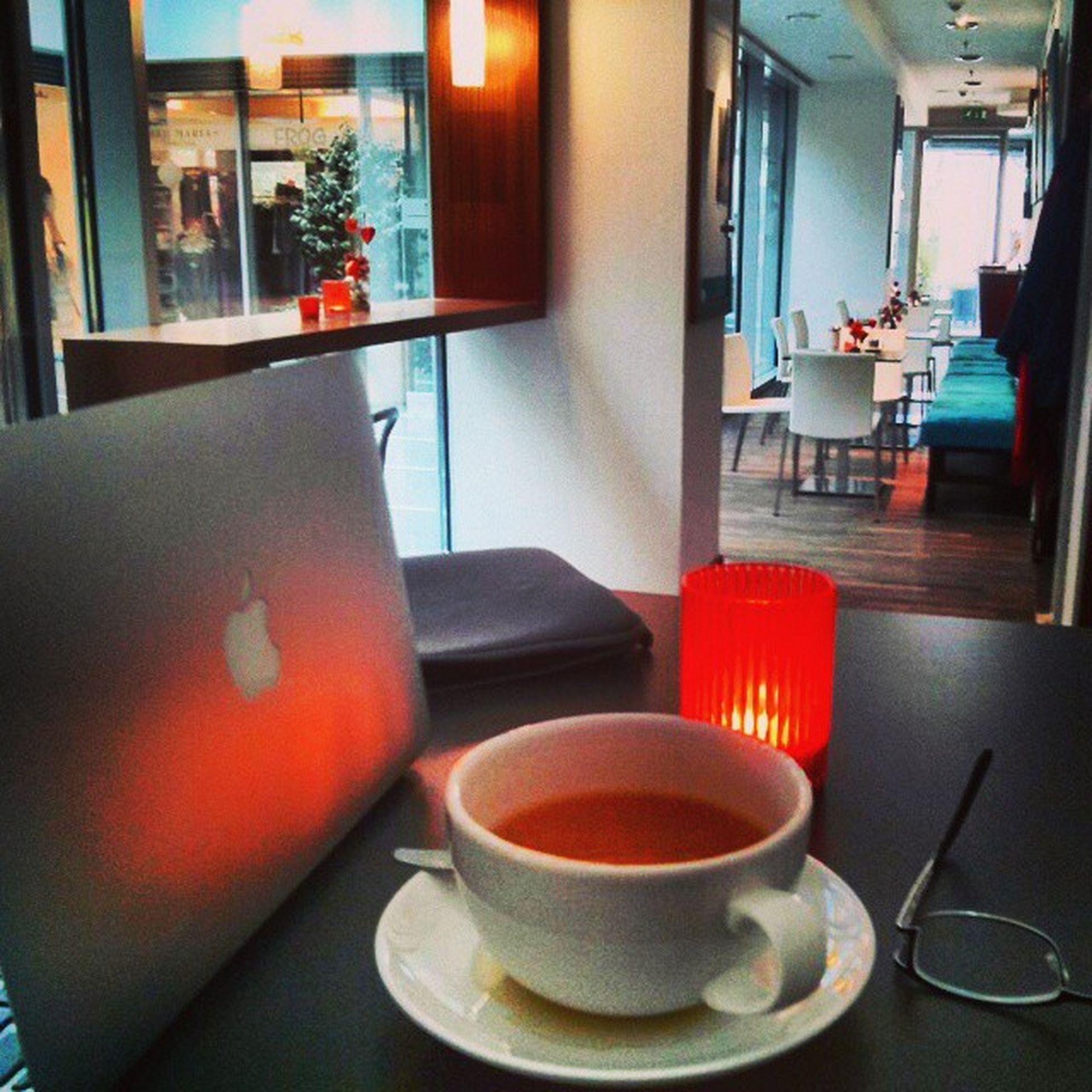 Global office setting - Green Tea + MacBook Air + WiFi + standing table Remotework Internet Webdev Mobilephotography appdev