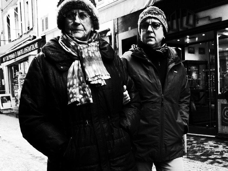 Noir Et Blanc Blackandwhite City Day Outdoors Real People Standing Street Photography Streetphotography Togetherness Two People Warm Clothing Winter Women