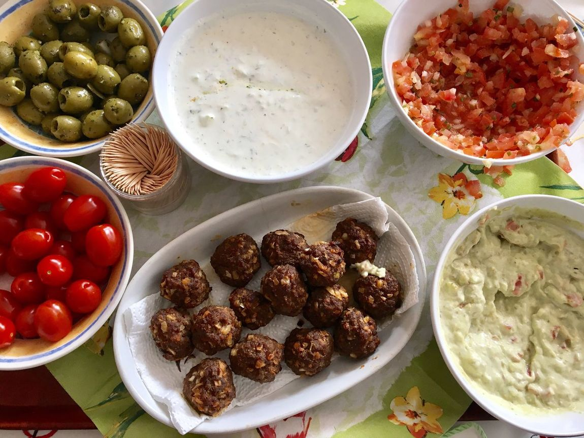 Food Bowl Plate Food And Drink Ready-to-eat Variation Indoors  Healthy Eating Table No People Freshness Meatballs Tomatoes Olives Garlicsauce Day