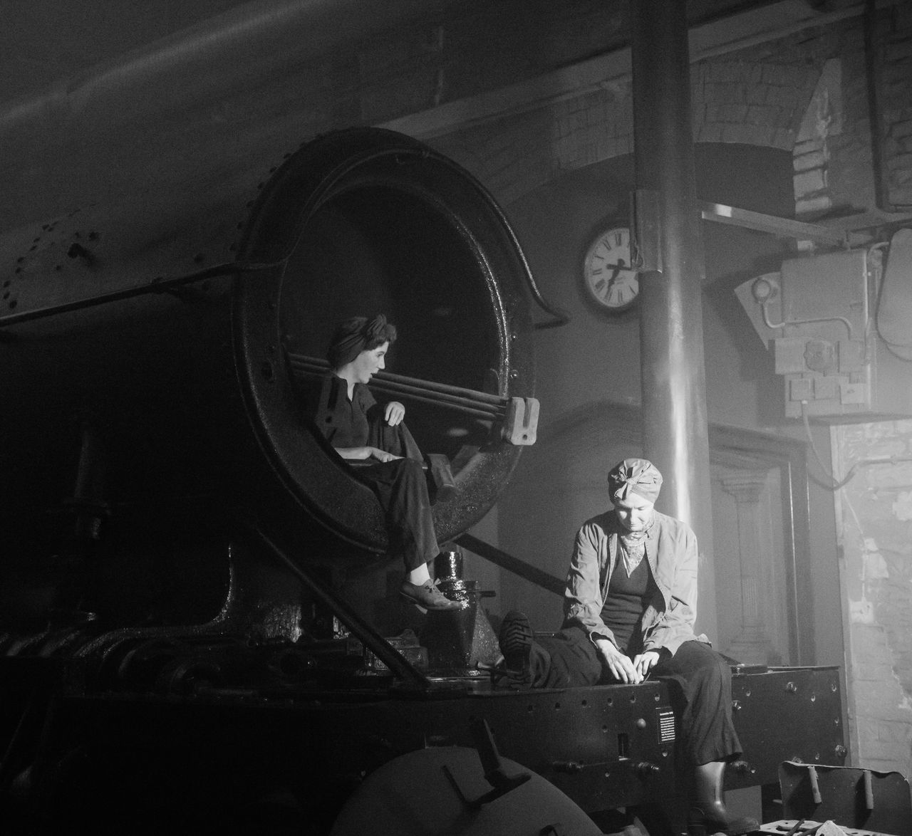 Women At Work B&W Collection Headscarfs Indoors  Monochrome People Period Clothes Steam Vintage Style Women Working