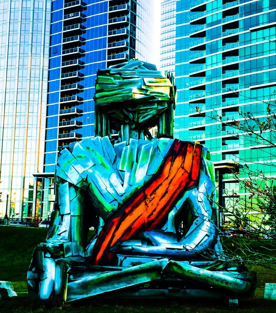 I have affectionately named this art piece the Grant Park Buddha. Installed earlier this week, by artist Tasha Norbu. Made of recycled material, calls attention to what is happening in our global environment. Building Exterior Architecture Built Structure City No People Outdoors Day Low Angle View Modern Skyscraper Sculpture Environmental Awareness World Peace Love Life Buddha Art Buddha Free Tibet Chicago Grant Park