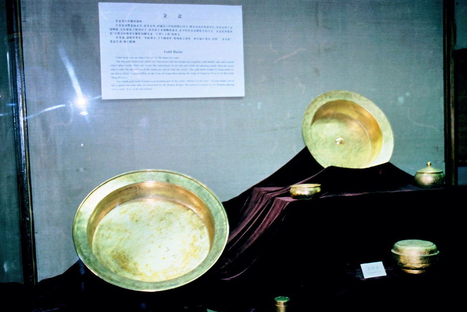 Gold Bowls Ancient Beijing Bored China Close-up Composition Full Frame Gold History Illuminated Indoor Photography Ming Tombs Museum Display No People Old Still Life Tourism Tourist Attraction  Tourist Destination