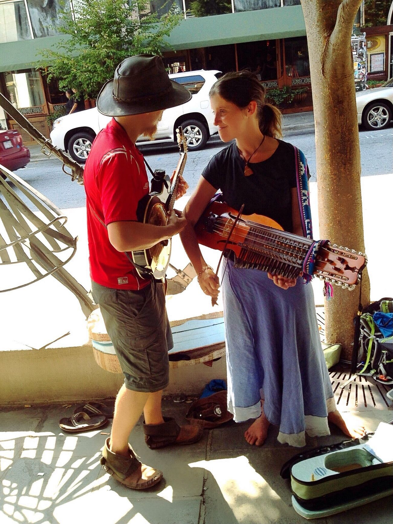 Downtown Asheville, NC Street Performance Music Hanging Out Cute Couple