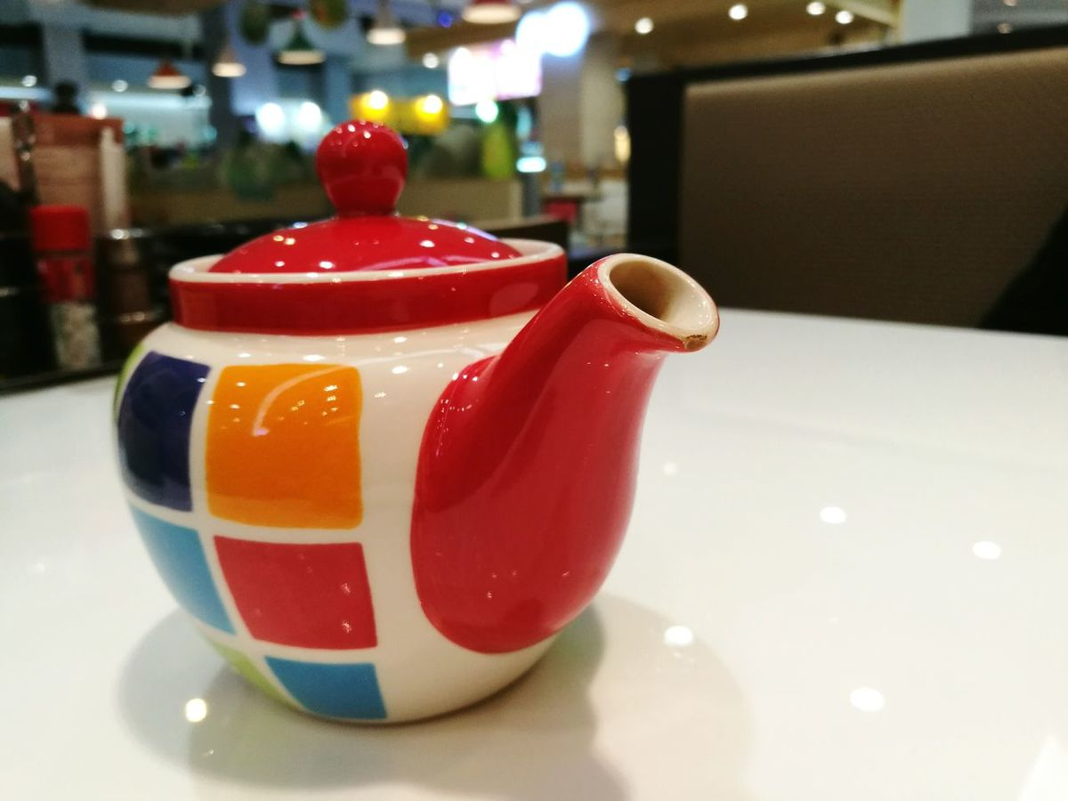 Colorful teapot Tea Green Tea Colorful Colors Zoom Close-up Reflection Red Orange Purple Pink Cream Colour Drink