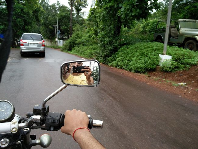 On The Way On The Road On The Bike Friends Enjoying Life Together Togetherness Mirror Mirror Picture Rain Rain Drops Goa